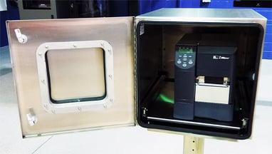 STAINLESS STEEL PRINTER BOX ITSENCLOSURES ICESTATION ZEBRA BARCODE PRINTER ENCLOSURE