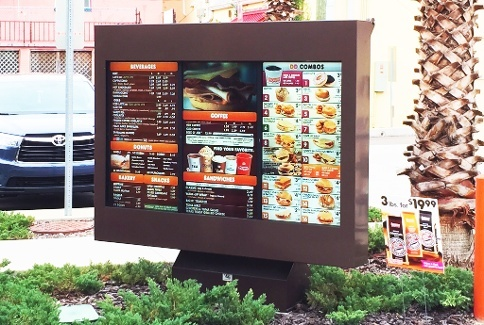 dunkin donuts viewstation itsenclosures qsr outdoor digital menu boards