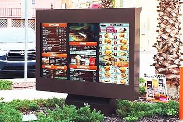 dunkin donuts viewstation itsenclosures qsr outdoor digital menu boards